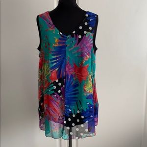 Green Blue Black Red White Top